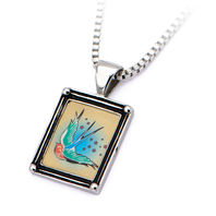 Inox Women'S Stainless Steel Vintage Swallow Frame Pendant Necklace