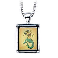 Inox Women'S Stainless Steel Vintage Mermaid Pendant Necklace