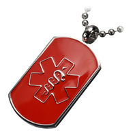 Inox Stainless Steel Red Medical Alert Dog Tag Pendant Chain Necklace