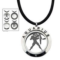 Inox Men's Stainless Steel 4-Way Aquarius Zodiac Pendant Leather Cord Necklace