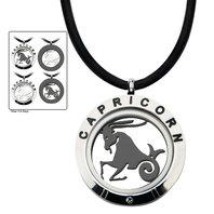 Inox Men's Stainless Steel 4-Way Capricorn Zodiac Pendant Leather Cord Necklace