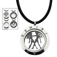 Inox Jewelry Stainless Steel 4-Way Gemini Zodiac Pendant Leather Necklace
