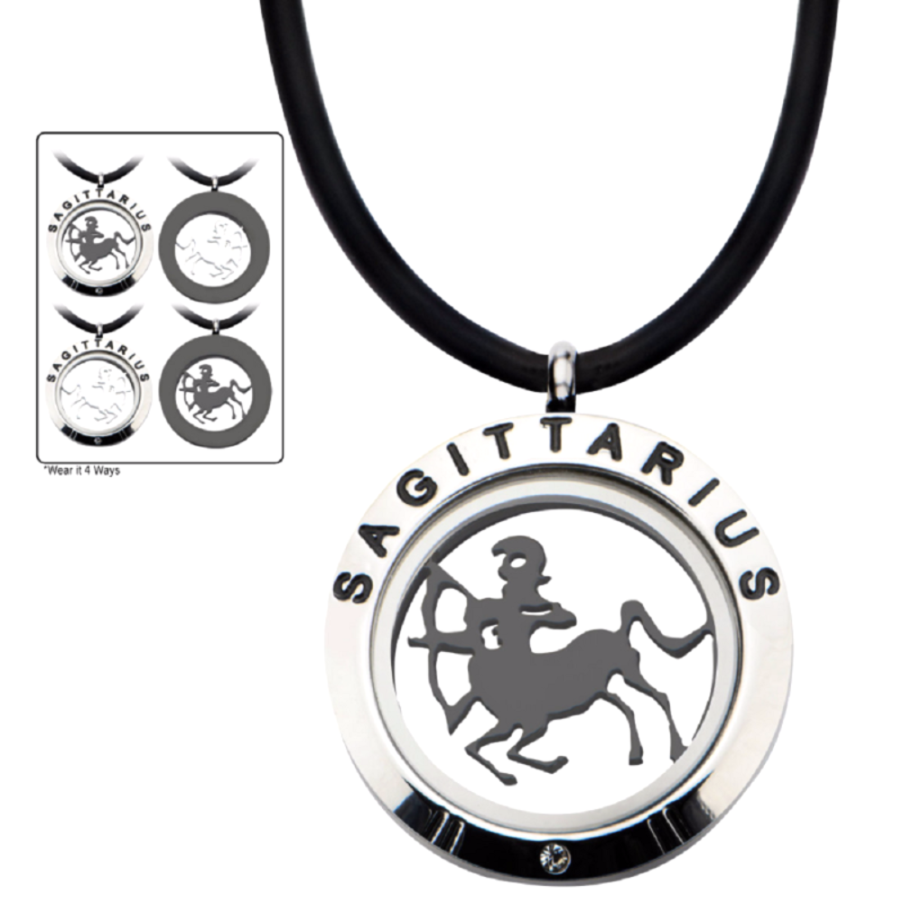 Inox Men's Stainless Steel 4-Way Sagittarius Zodiac Pendant Leather Cord Neclace