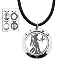 Inox Jewelry Men's Stainless Steel 4-Way Virgo Zodiac Pendant Leather Necklace