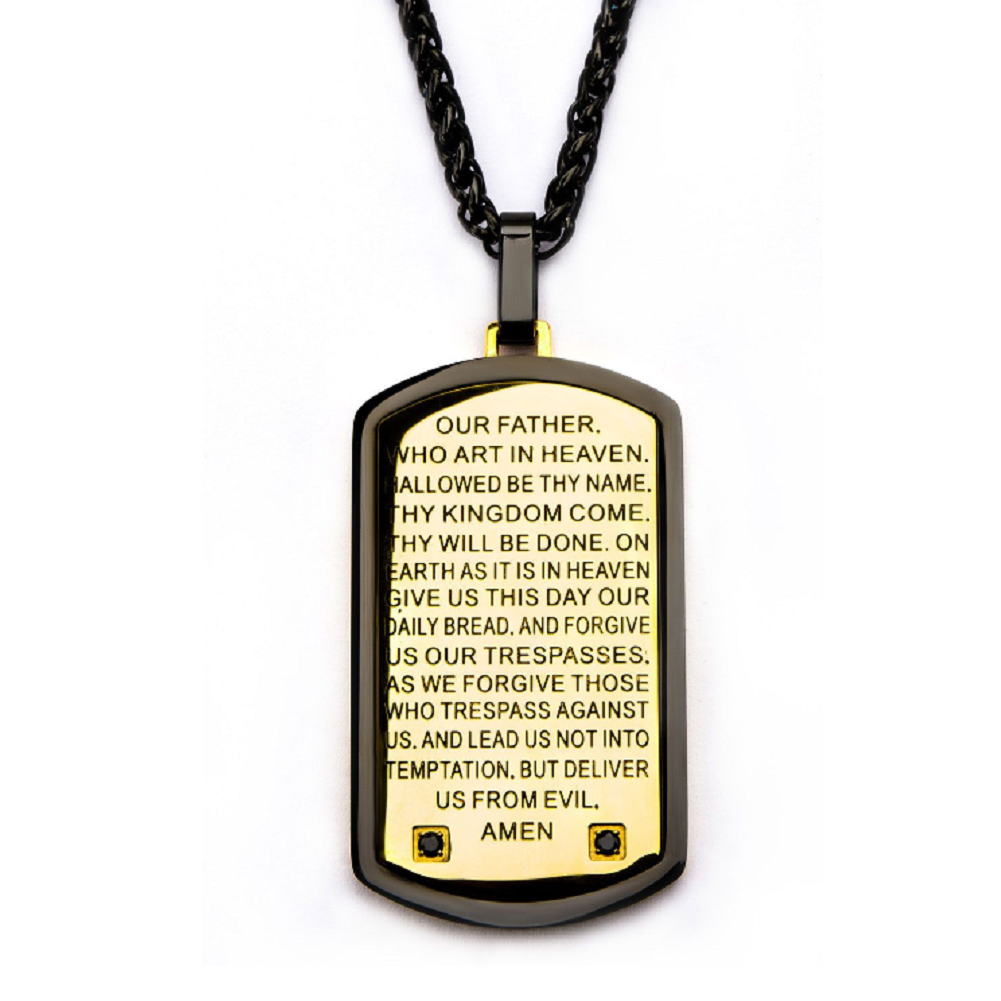 Inox Mens  Two Tone Lord's Prayer Black CZ Dog Tag Chain & Pendant Necklace