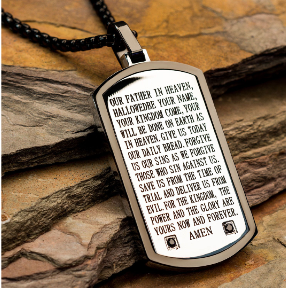 Inox Mens  Two Tone Lord's Prayer Silver Tone Dog Tag Chain & Pendant Necklace