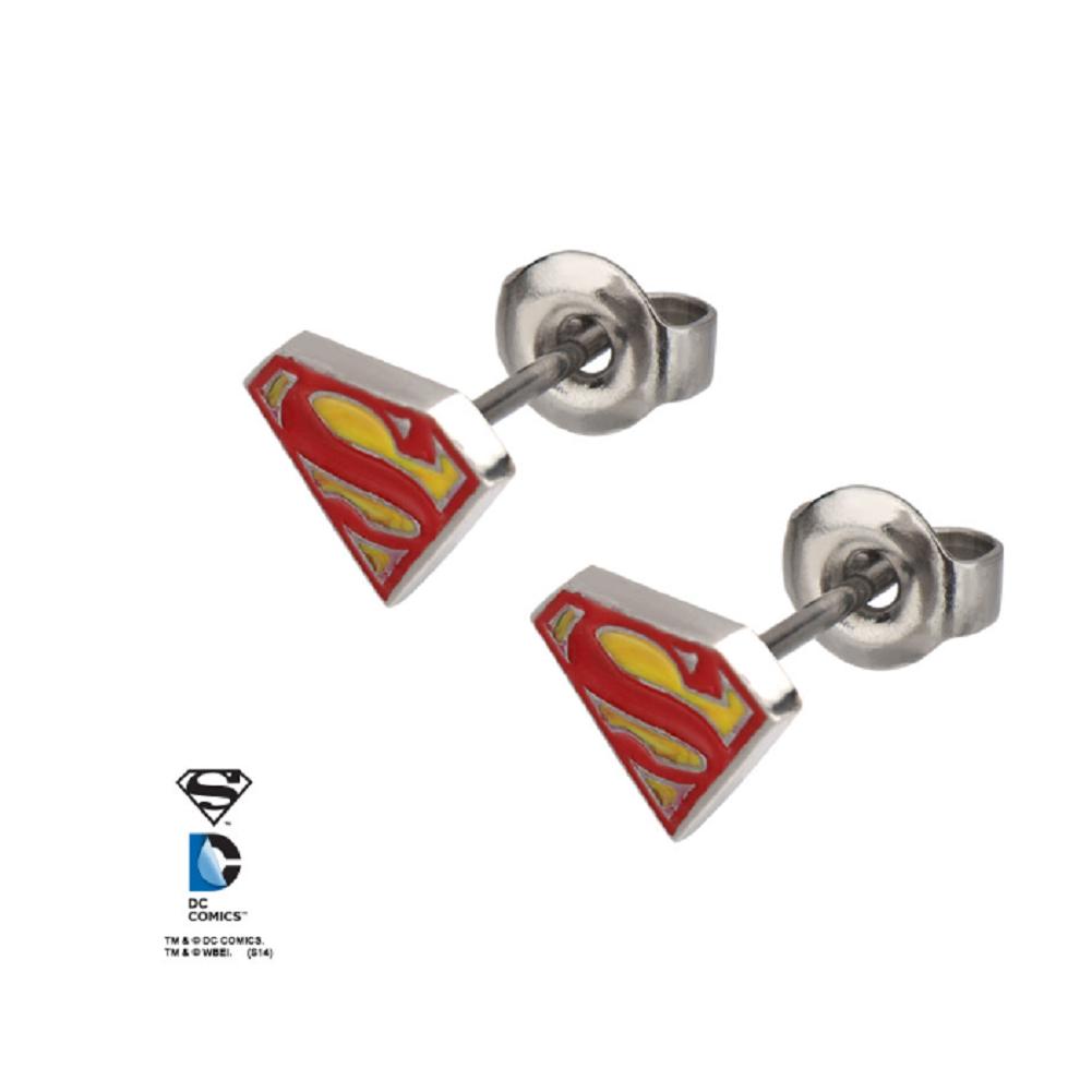 Inox Jewelry Superman Symbol S Stainless Steel Pierced Post Stud Earring