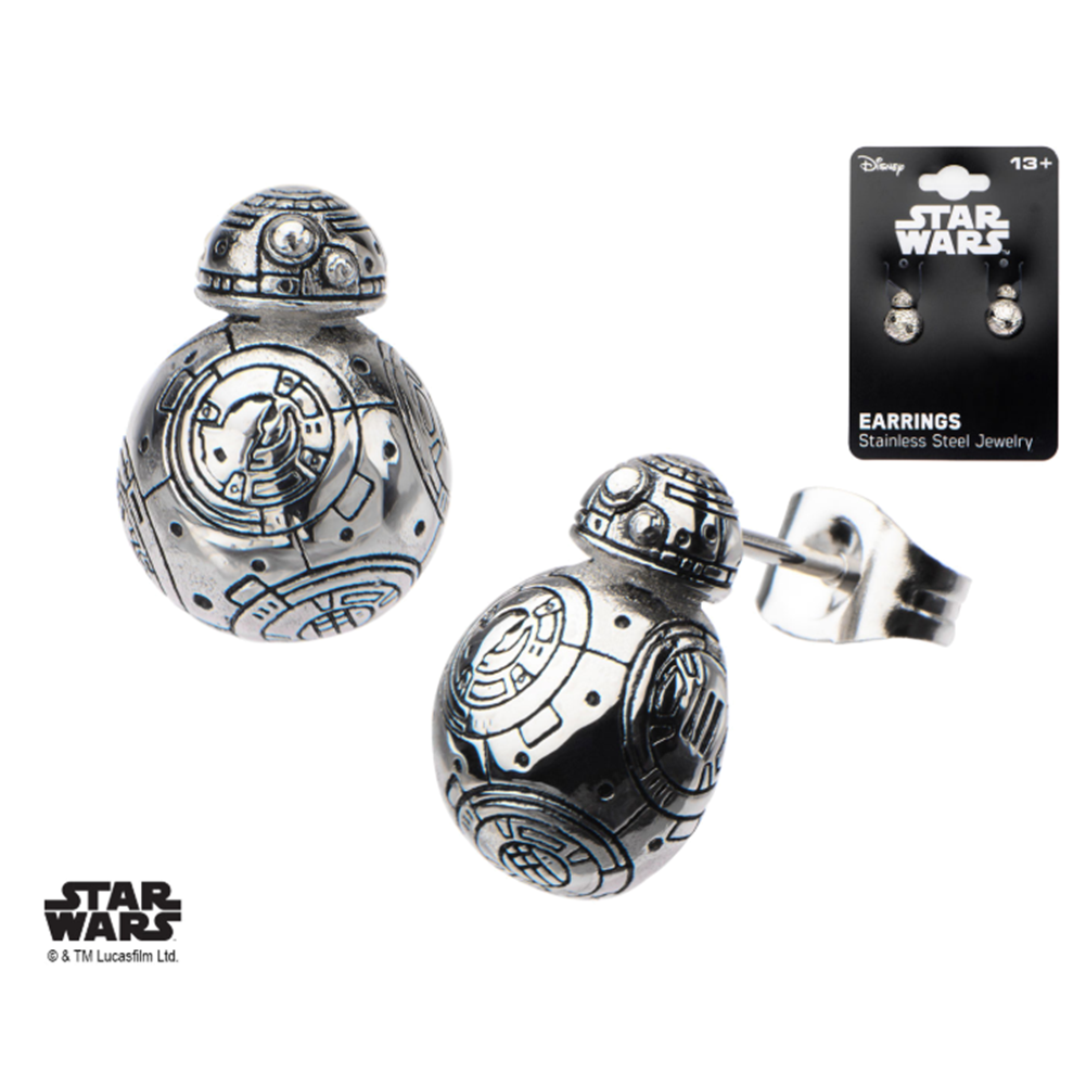 Inox Jewelry Stainless Steel Star Wars Episode 7 BB-8 Enamel Post Stud Earring