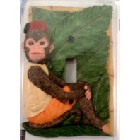 African Empire Monkey With Palm Leaves Light Switch Cover Room Decor