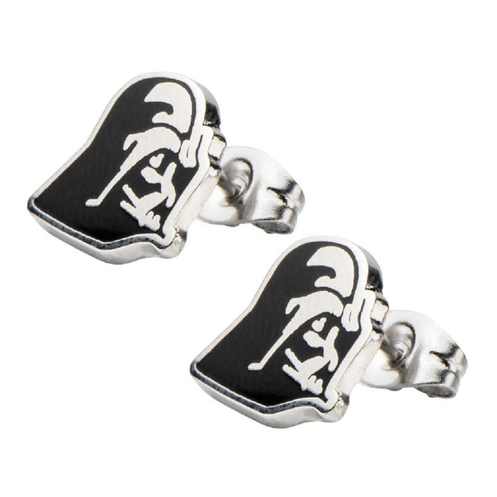 Inox Jewelry Stainless Steel Darth Vader Head Enamel Post Stud Earring
