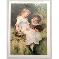 "Victorian Lithograph Print Picture ""Sweethearts"" Children Kids In Love 5"" X 7"""