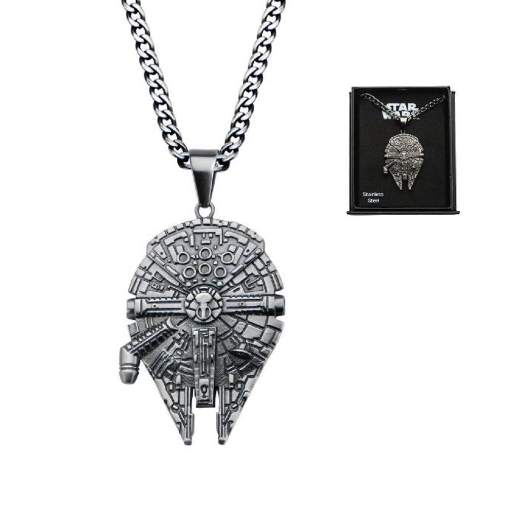 Inox Stainless Steel Disney Pendant Chain Necklace Star Wars Millennium Falcon