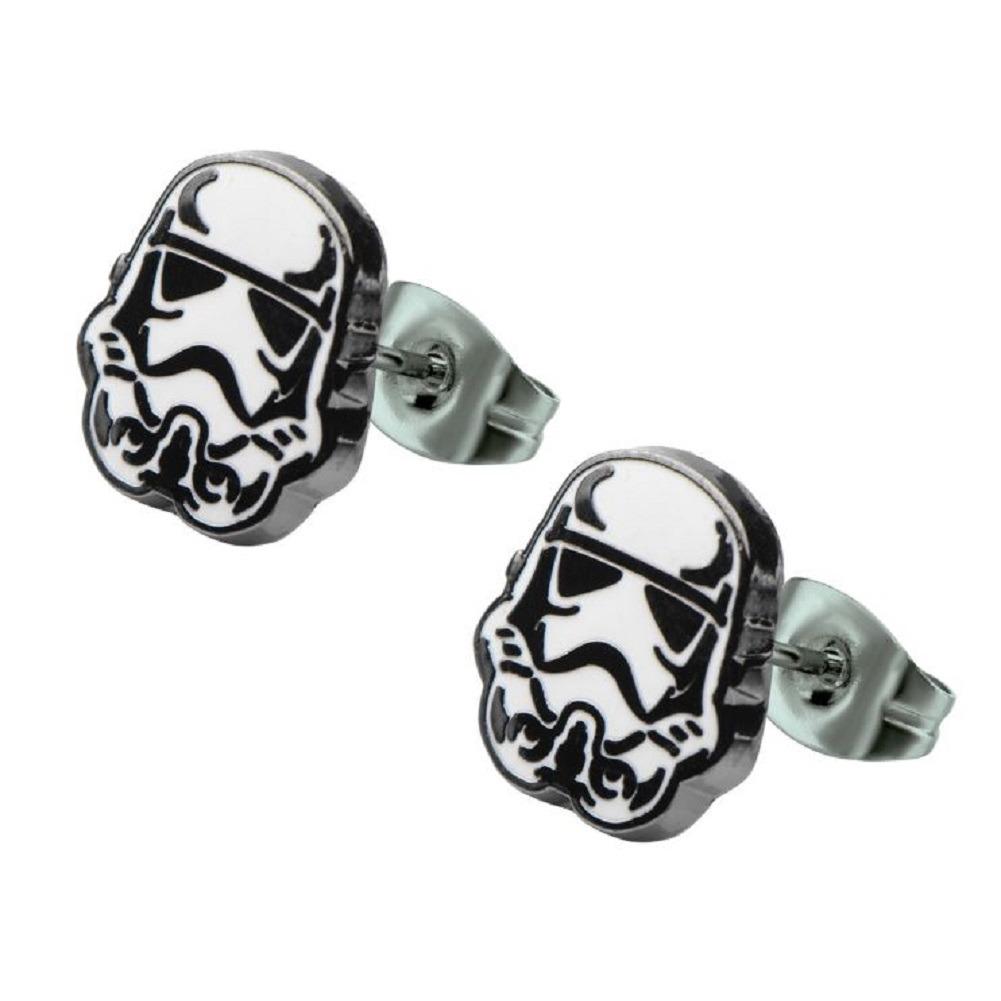 Inox Jewelry Stainless Steel Stormtrooper Helmet Enamel Post Stud Earring