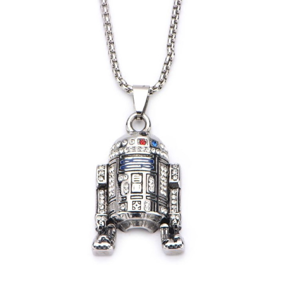 Inox Stainless Steel Disney Pendant Chain Necklace Star Wars R2D2 with Gem