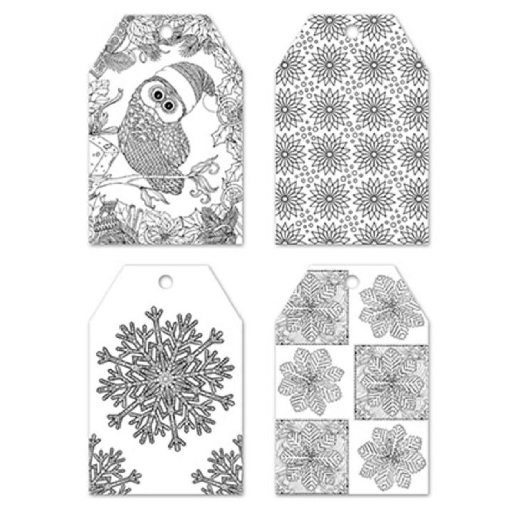 Color Create your Own Gift Tag Set of 24 Pieces 4 Designs Winter Wonderland