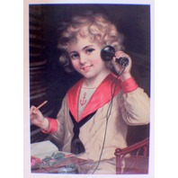 "Victorian Lithograph Print Picture ""Telephone Girl Print"" 4"" X 6"""