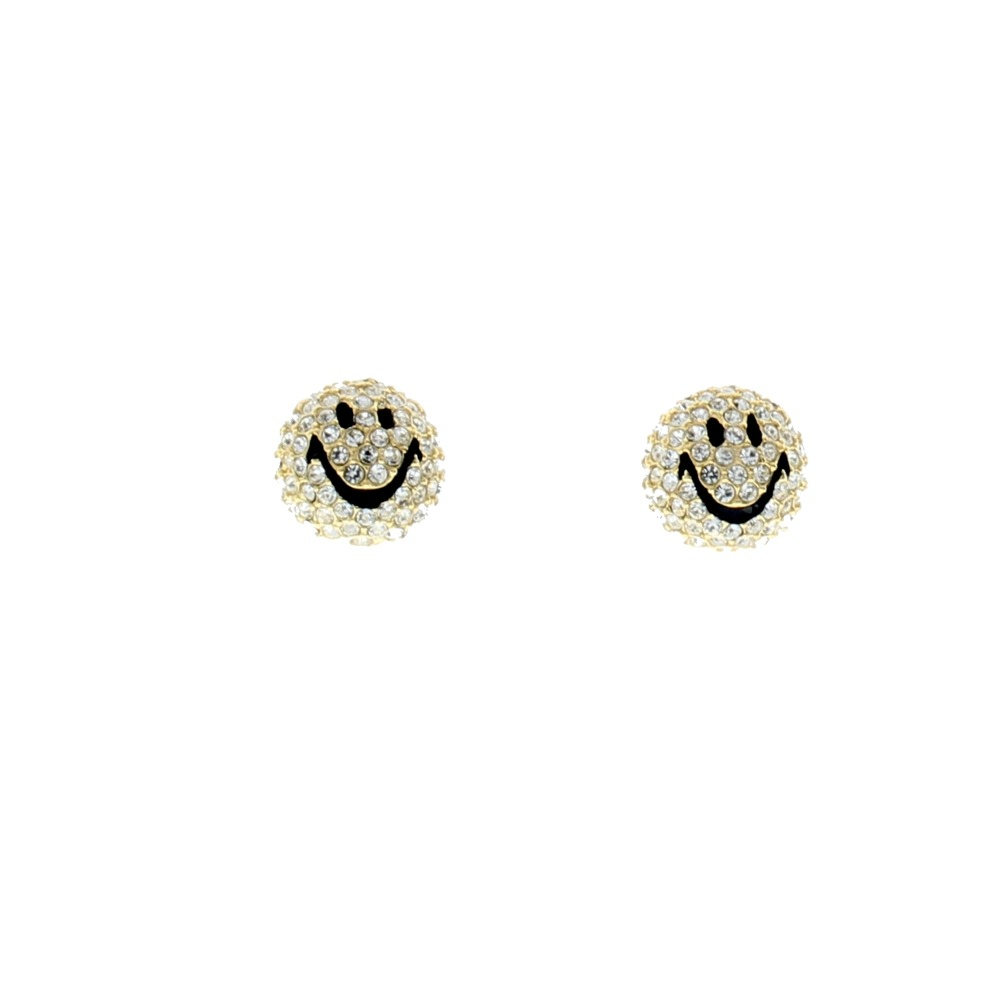Rhinestone Bling  Pierced Post Earrings Smile Have a Nice Day Happy Clear Emoji