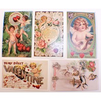 Lot Of 5 Romantic Valentine Greeting Postcards Cupid Old Print Factory