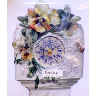 Victorian Card Lithograph Die Cut Embossed Grandfather Clock Paper Calendar