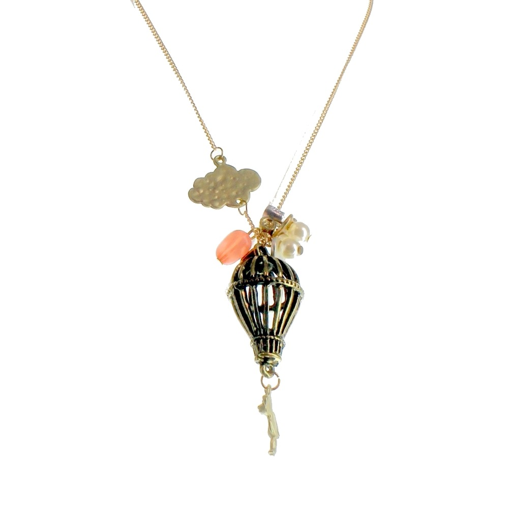 Women's Long Dangle Drop Necklace Gold Tone Hot Air Balloon Teddy Bear Cloud