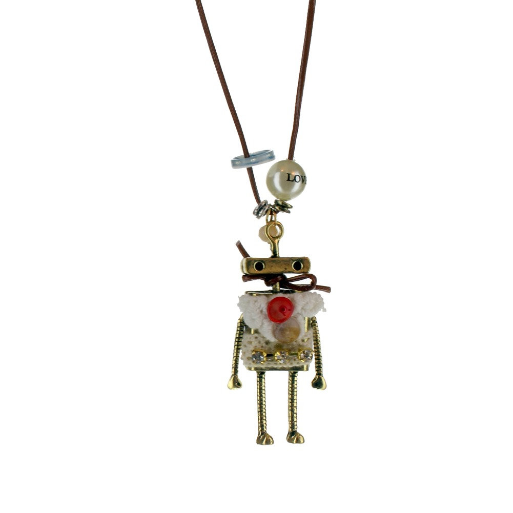 Women's Long Dangle Drop Necklace Whimsical Robot with Buttons gold-tone