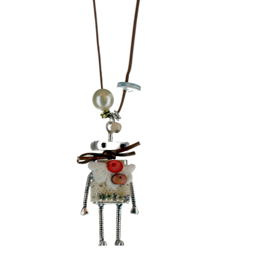 Women's Long Dangle Drop Necklace Whimsical Robot with Buttons Silver-tone