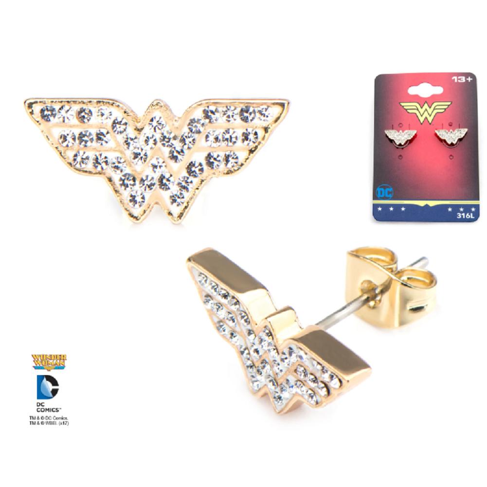 Inox Jewelry Wonder Woman Symbol CZ WW Pierced Post Stud Earring