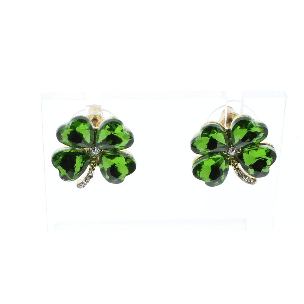 St Saint Paddy's Day Shamrock 4 Leaf Clover Post Earrings