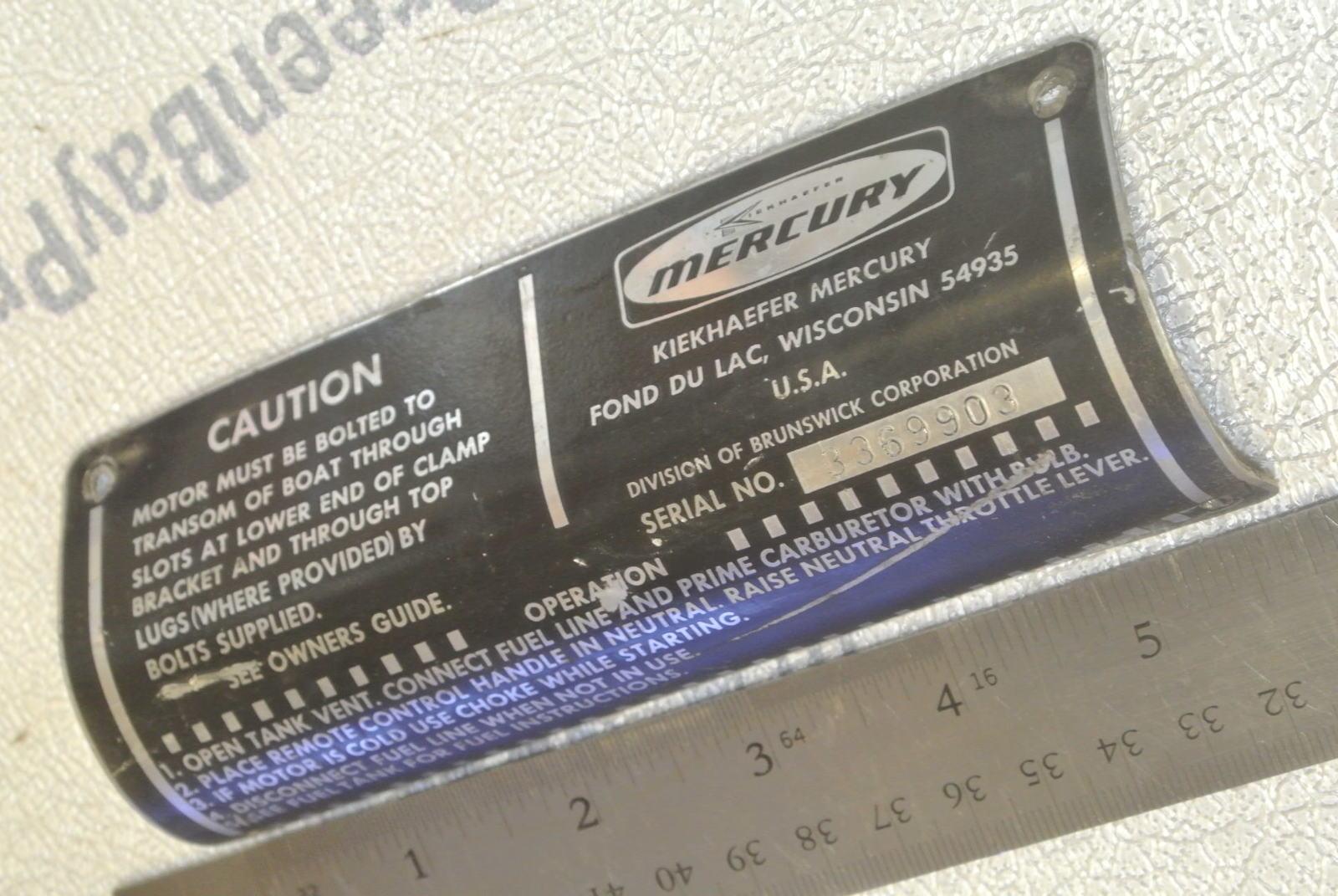 Vintage Mercury Outboard Serial Number Plate 1972 115 HP 3369903