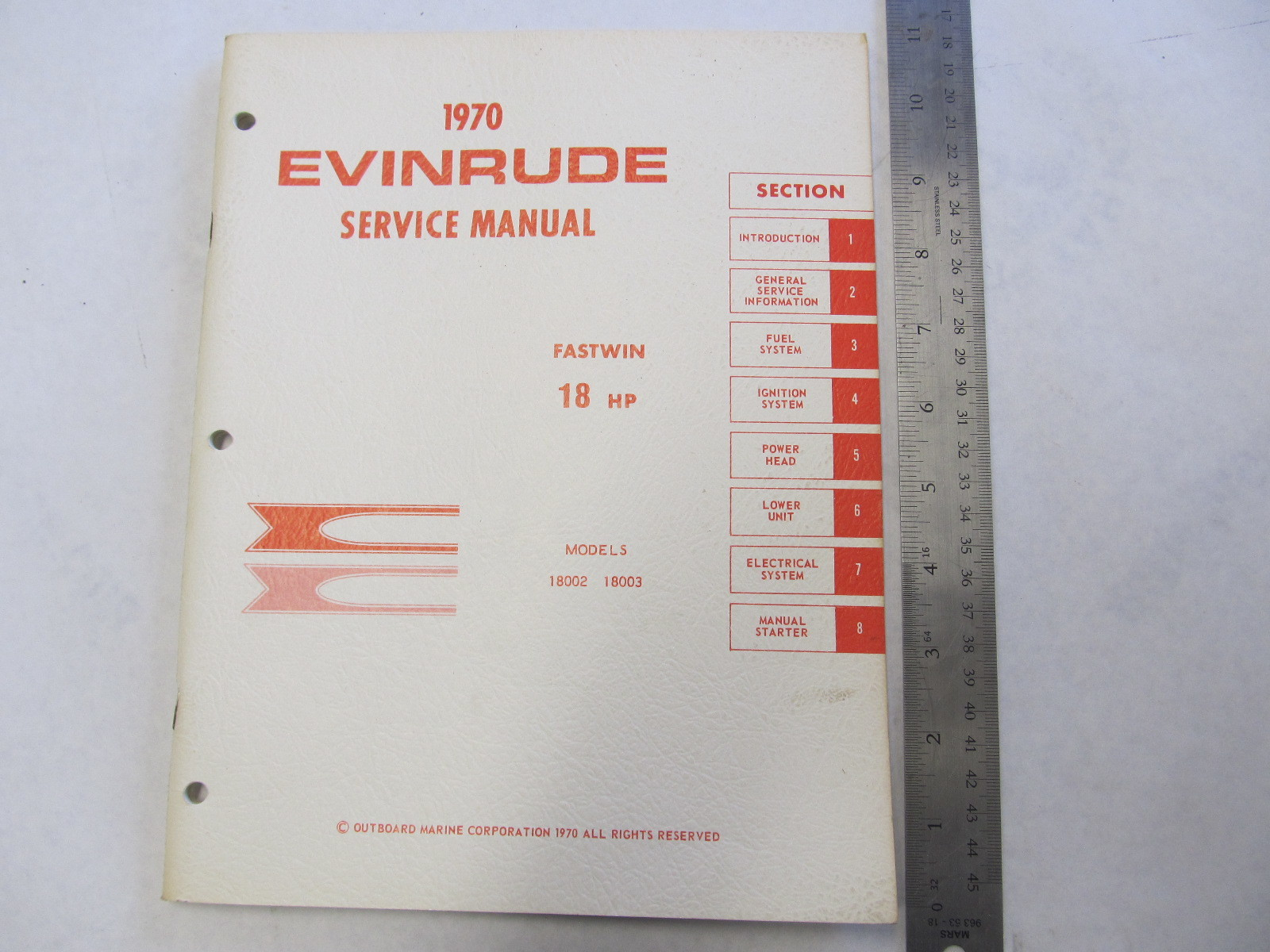 1970 Evinrude Outboard Service Manual 18 HP Fastwin 18002 18003