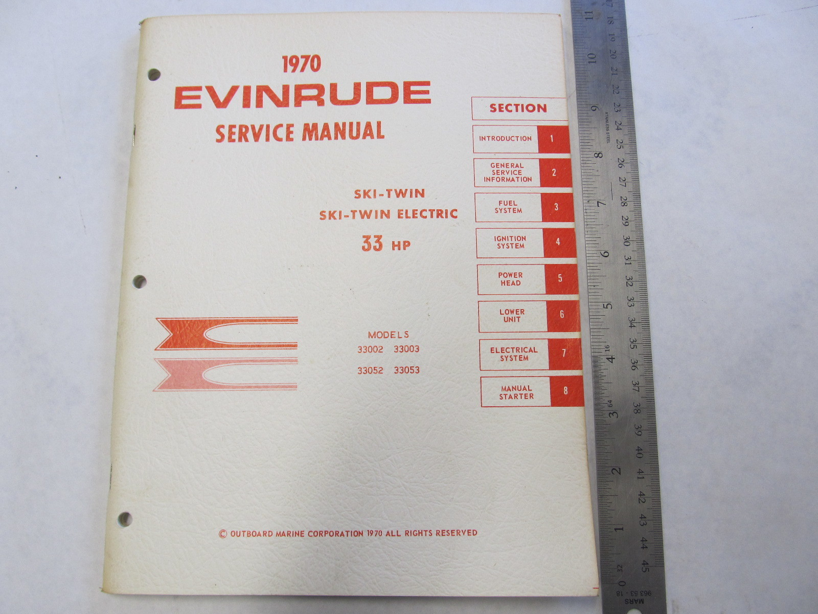 1970 Evinrude Outboard Service Manual 33 HP Ski-Twin / Ski-Twin Electric
