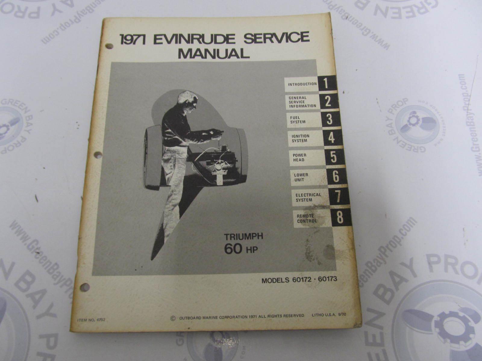 1971 Evinrude Outboard Service Manual 60 HP Triumph 60173 ...