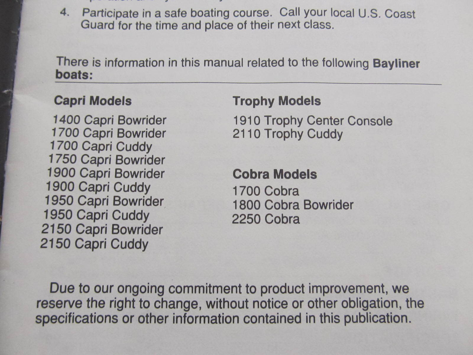 22067 bayliner capri cobra trophy boat owner s manual green bay rh greenbayprop com Bayliner Trophy 1802 Bayliner Bass Trophy Windshield