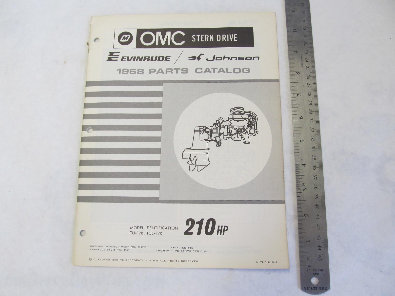 1968 OMC Stern Drive Parts Catalog 210 HP TU-17R TUE-17R