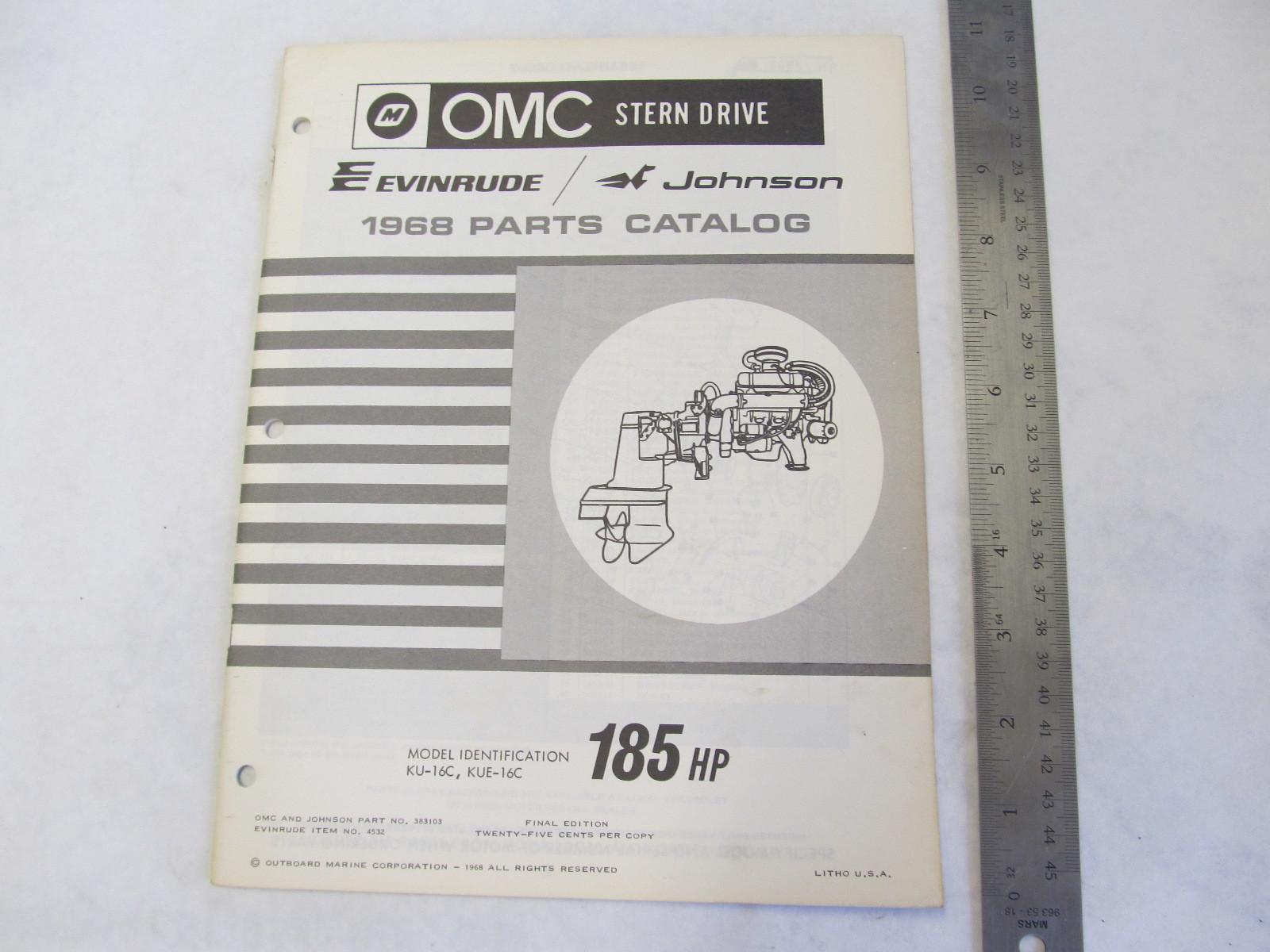 1968 OMC Stern Drive Parts Catalog 185 HP KU-16C KUE-16C