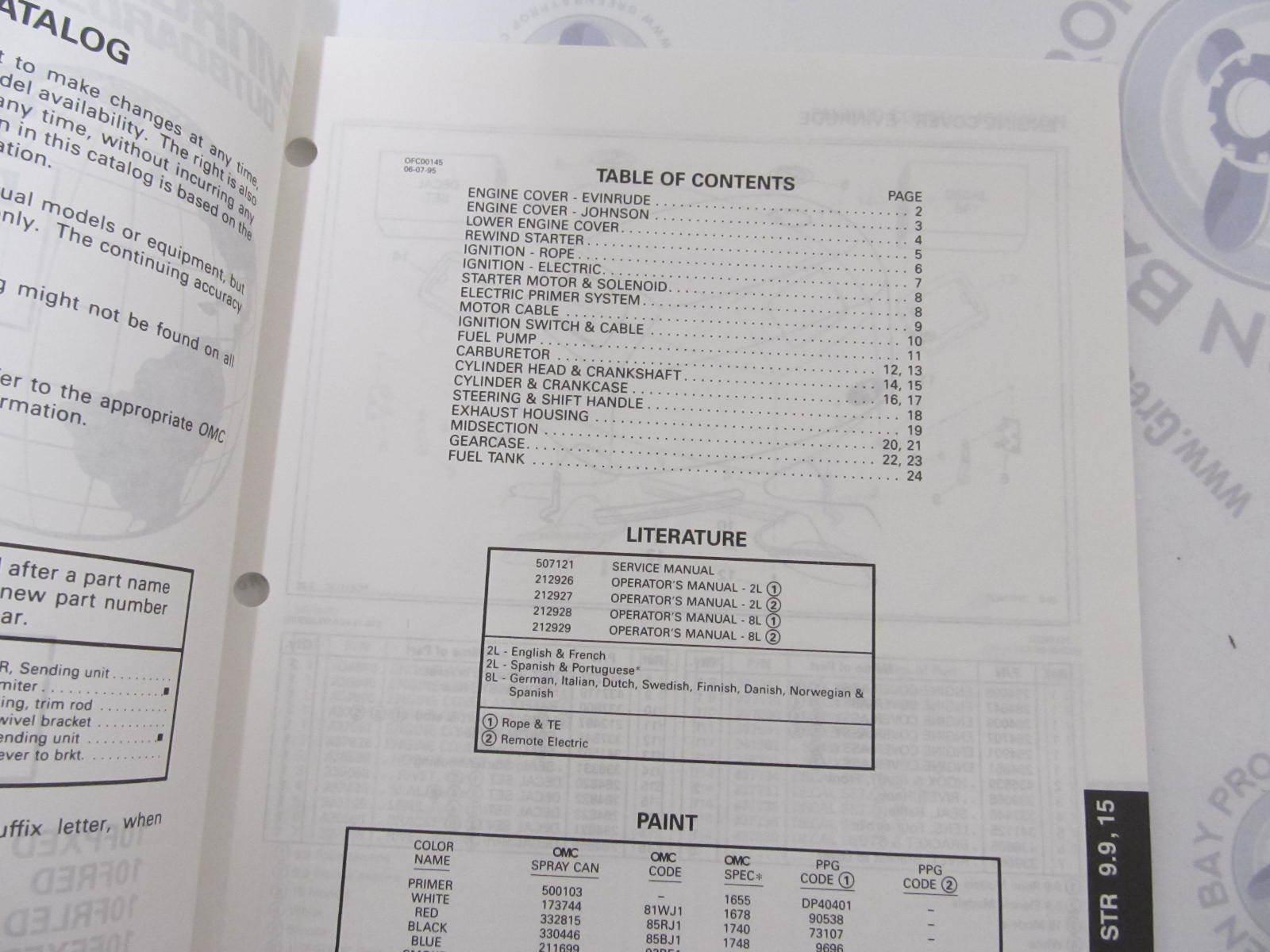 438149 OMC Evinrude Johnson 9 9-15 HP 4-Stroke Outboard Parts Catalog 1996