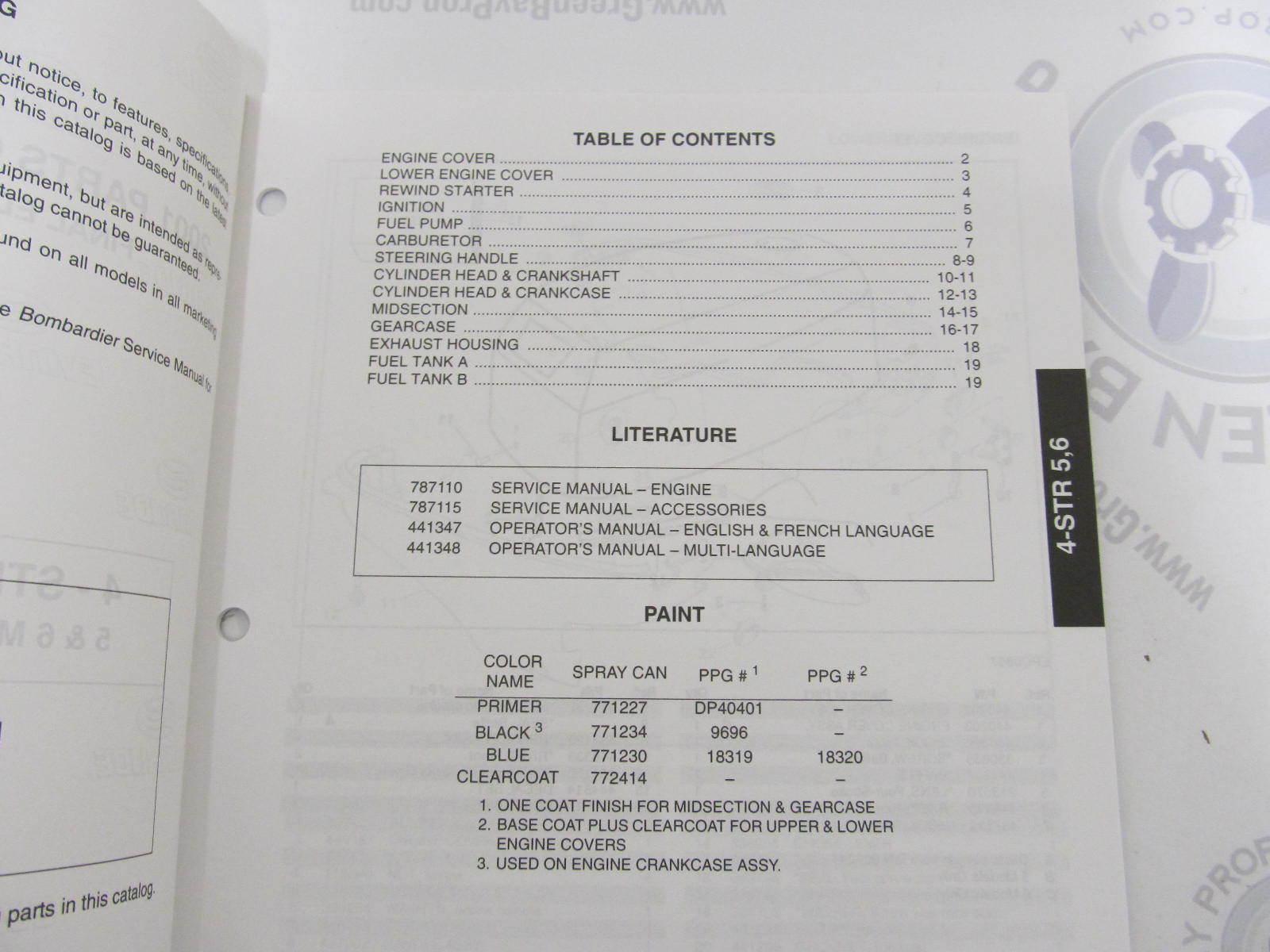 5001661 OMC BRP Evinrude 5-6 HP 4-Stroke Outboard Parts Catalog 2001
