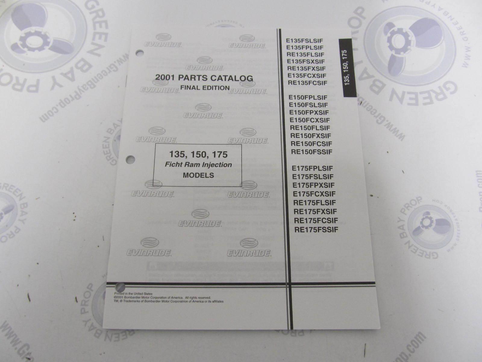 5001688 OMC BRP Evinrude 135/150/175 Ficht Outboard Parts Catalog 2001