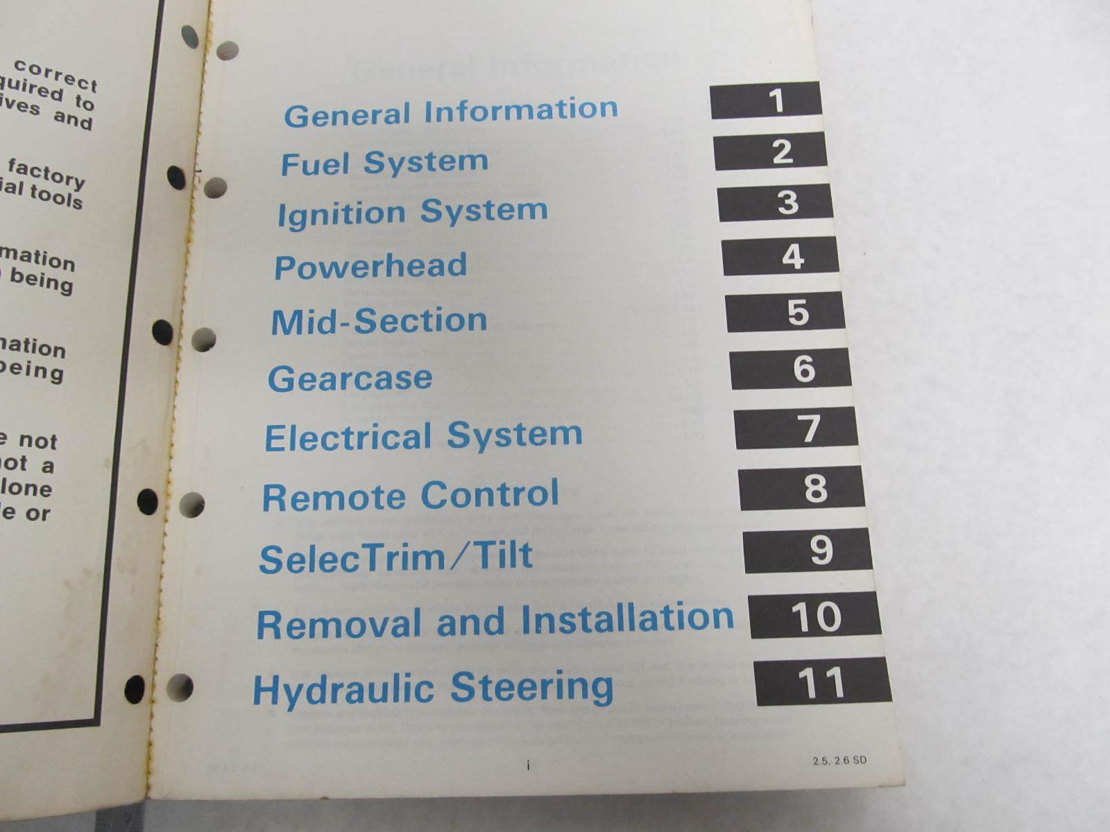 ... 507513 1985 OMC Sea Drive Outboard Service Manual 2.5L & 2.6L ...