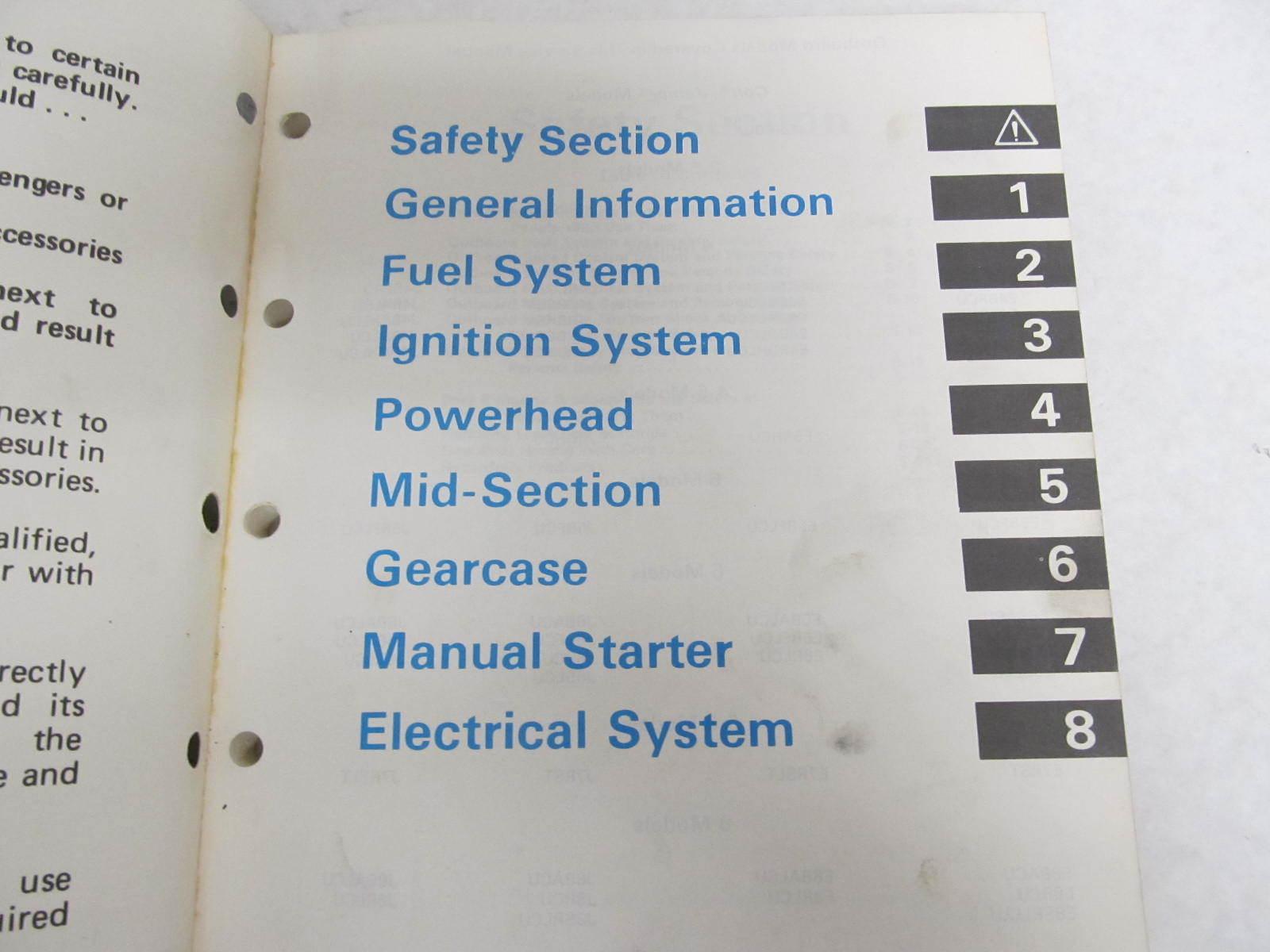 "... 1987 Evinrude Johnson Outboard Service Manual Colt/Junior-8 HP "" ..."