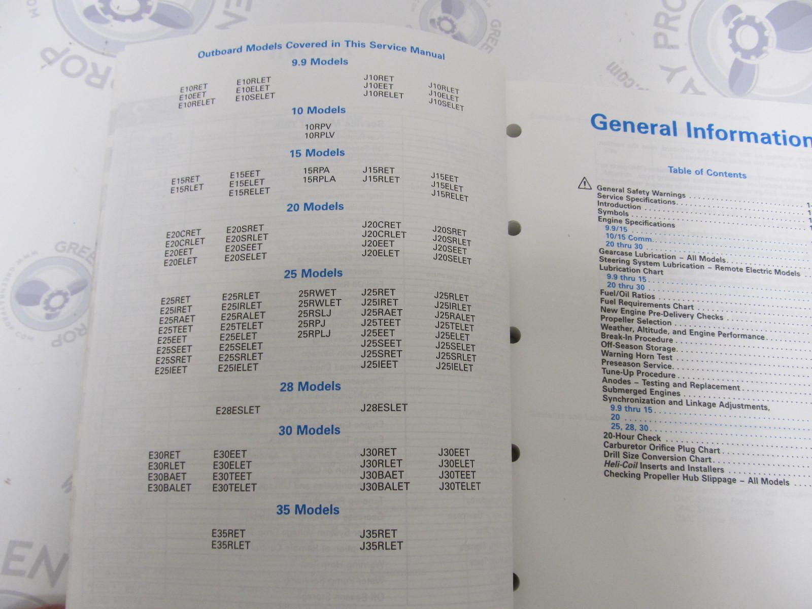 "... 9.9-30 HP 1993 508282 Johnson Evinrude Outboard Service Manual ""ET"" ..."