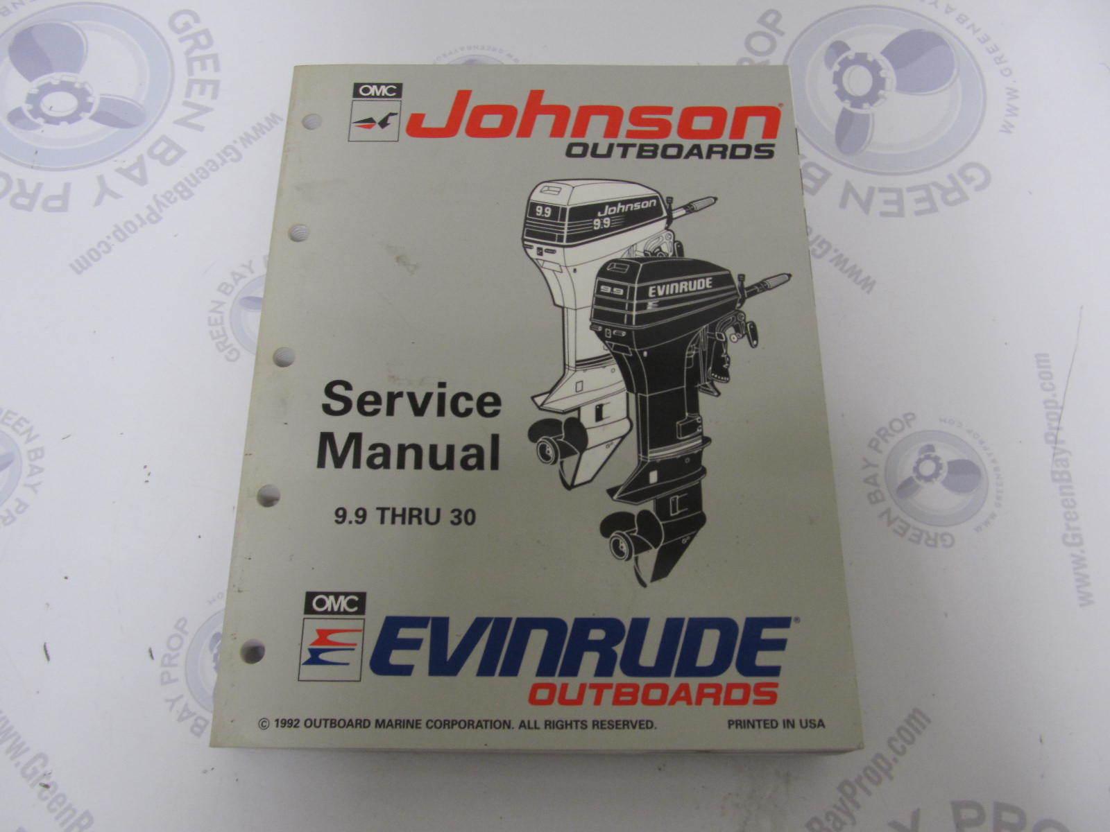 "... 9.9-30 HP 1993. 508282 Johnson Evinrude Outboard Service Manual ""ET"" ..."
