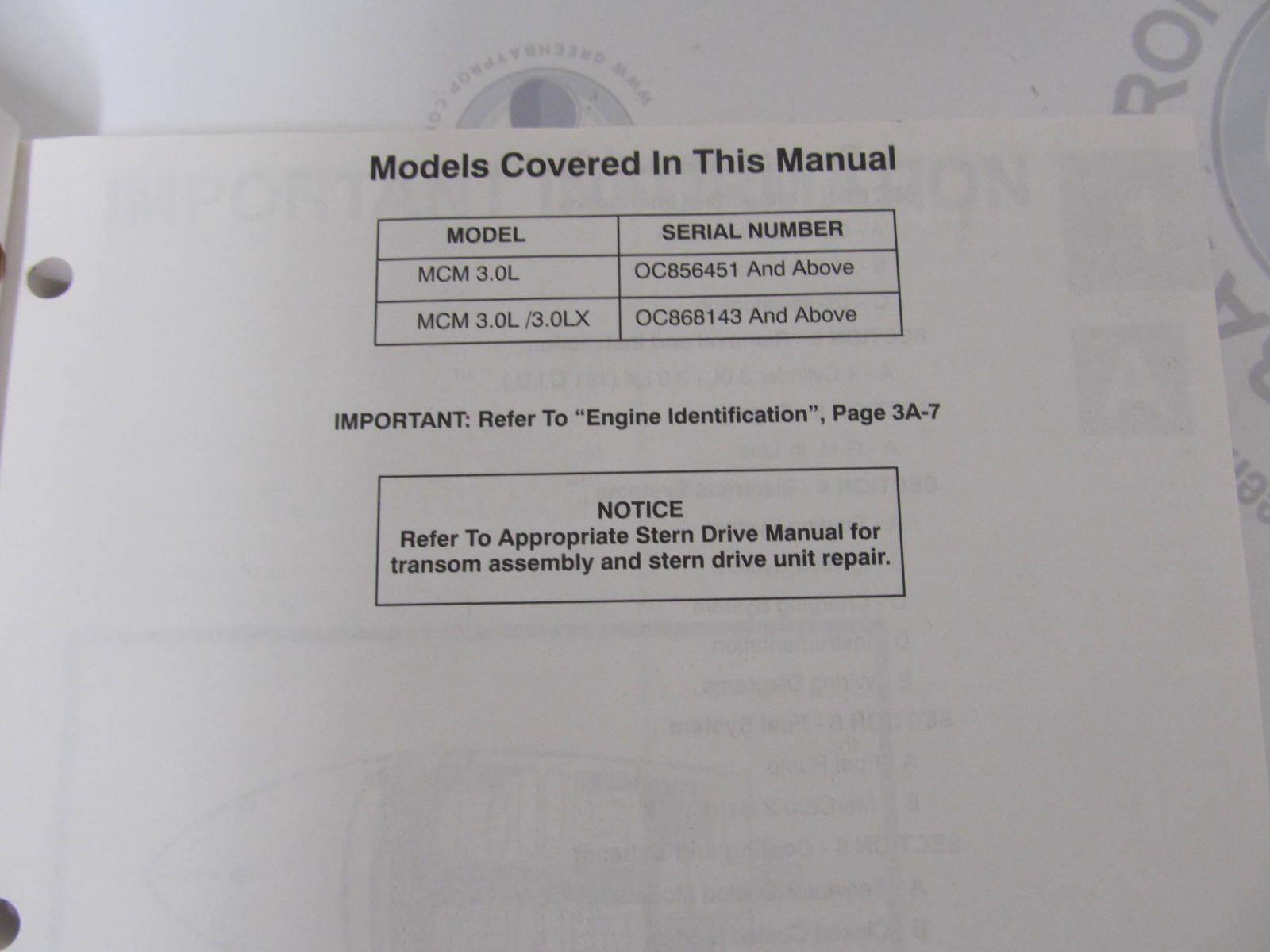 ... 90-816462 695 MerCruiser Service Manual Number 13 GM 4 Cylinder Marine  Engines ...