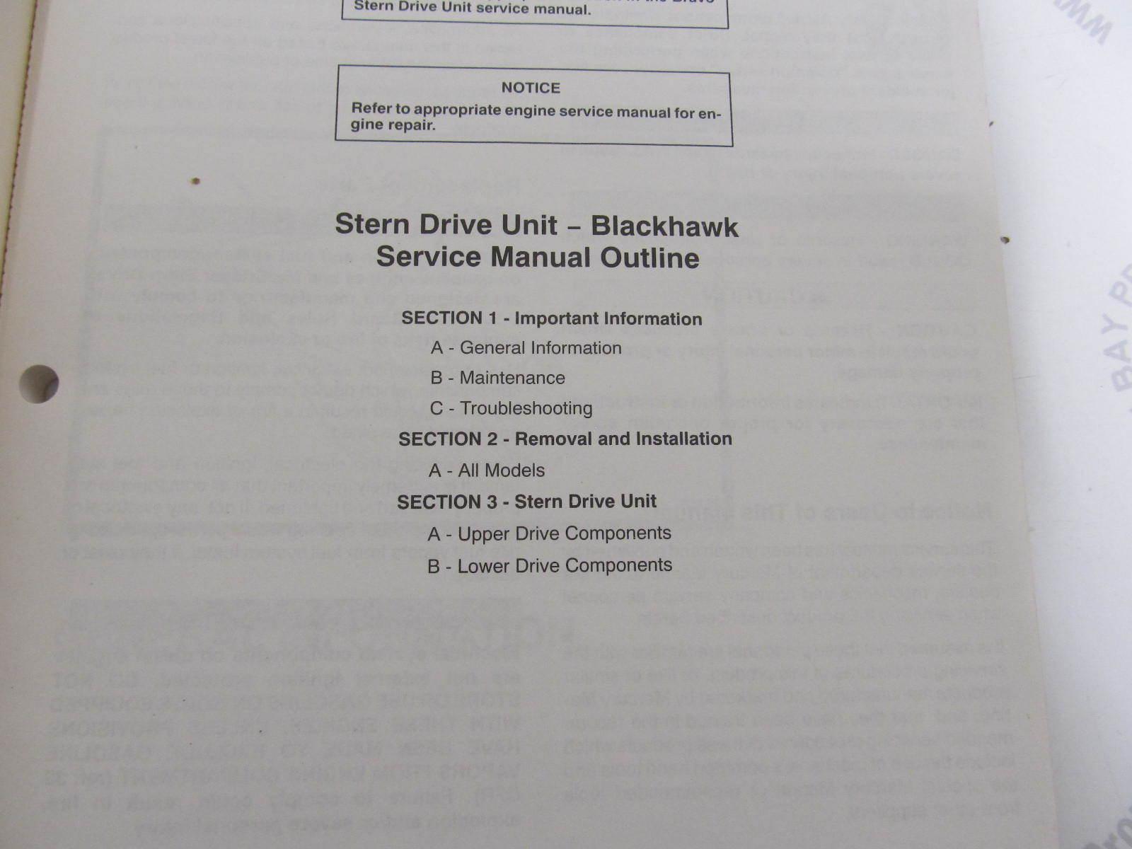 ... 90-823228 694 MerCruiser Blackhawk Stern Drive Service Manual #20 ...