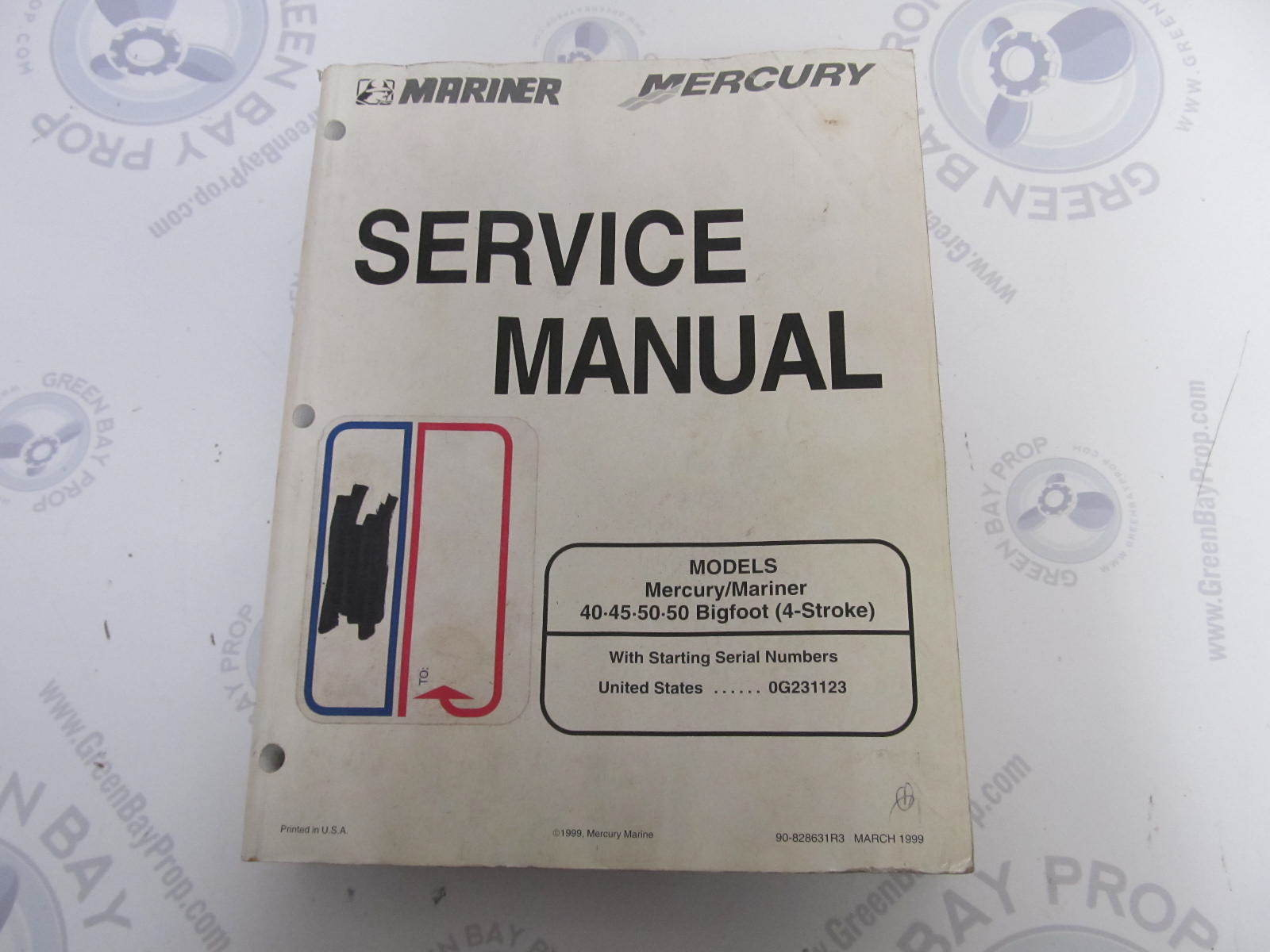 90-828631R3 Mercury Mariner Outboard Service Manual 40-50 4-Stroke Bigfoot  | Green Bay Propeller & Marine LLC