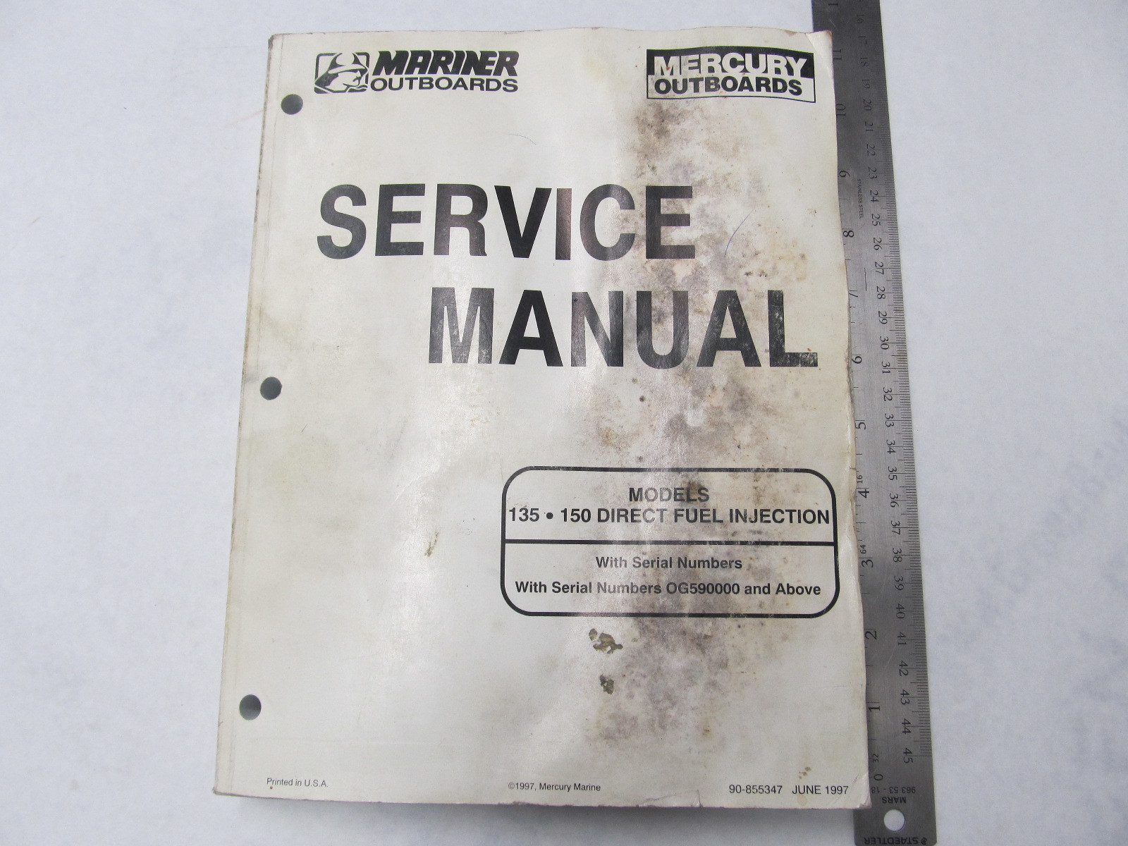 90-855347 Mercury Mariner Outboard Service Manual 135 HP150 Direct Fuel