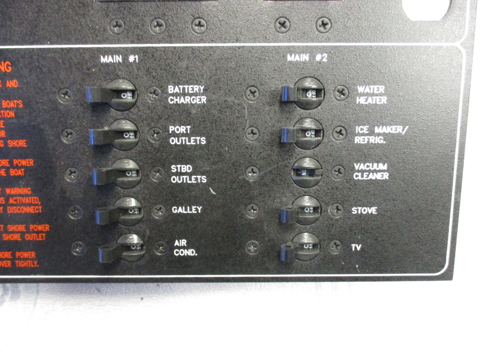 Marine Boat Breaker Panel Main Controls 120V 60HZ AC System