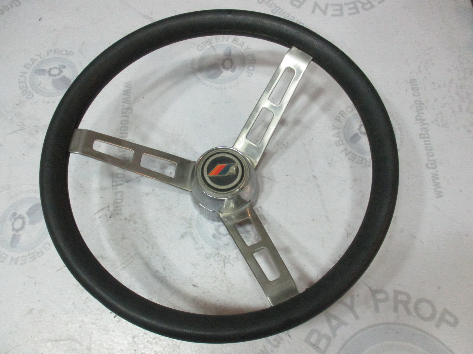 "Vintage Boat Stainless Steel 14"" Steering Wheel 3 Spoke Standard Tapered Shaft"