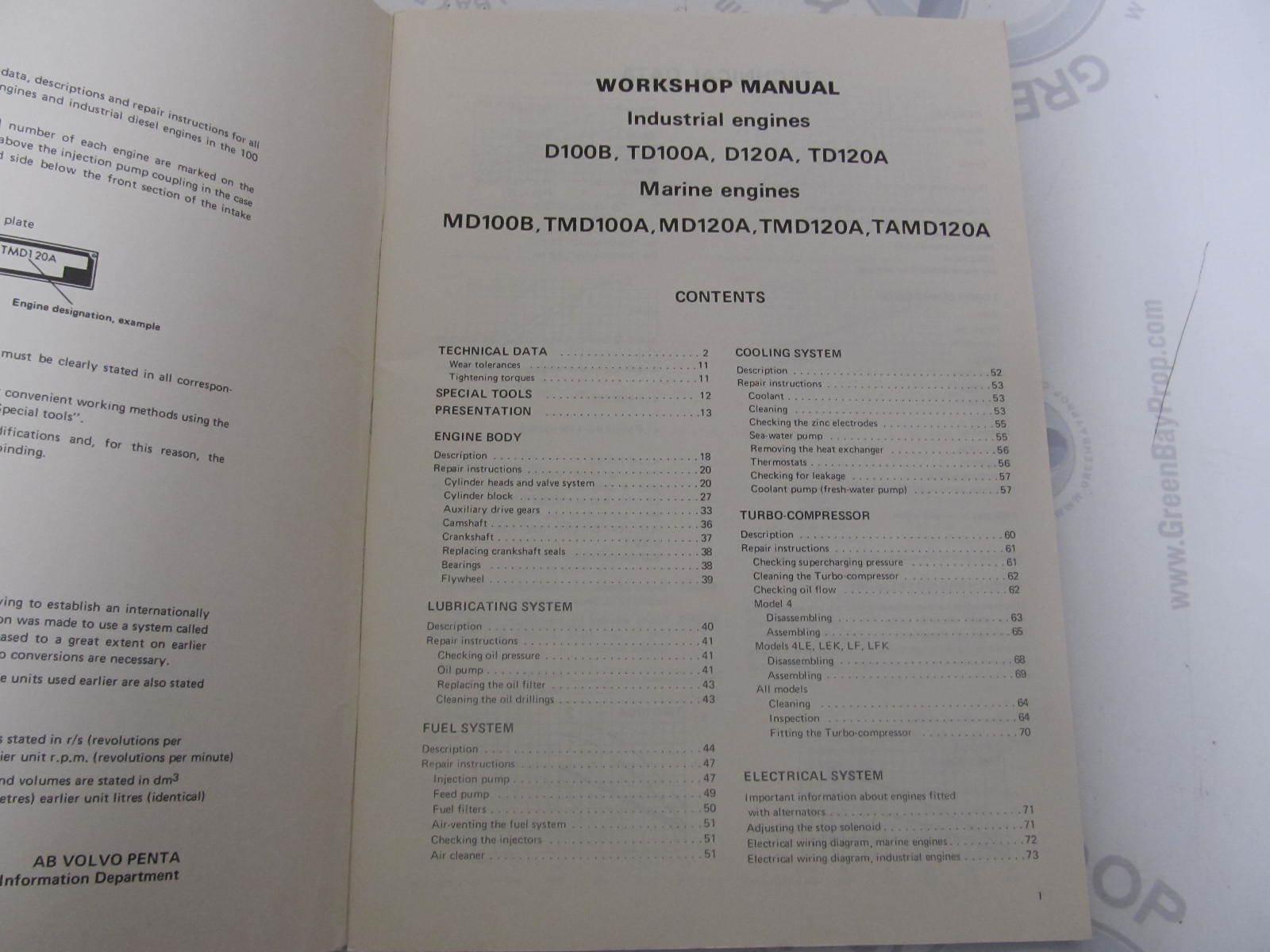 ... 2826 Volvo Penta Workshop Manual 100 & 120 Series Diesel Engines 1974