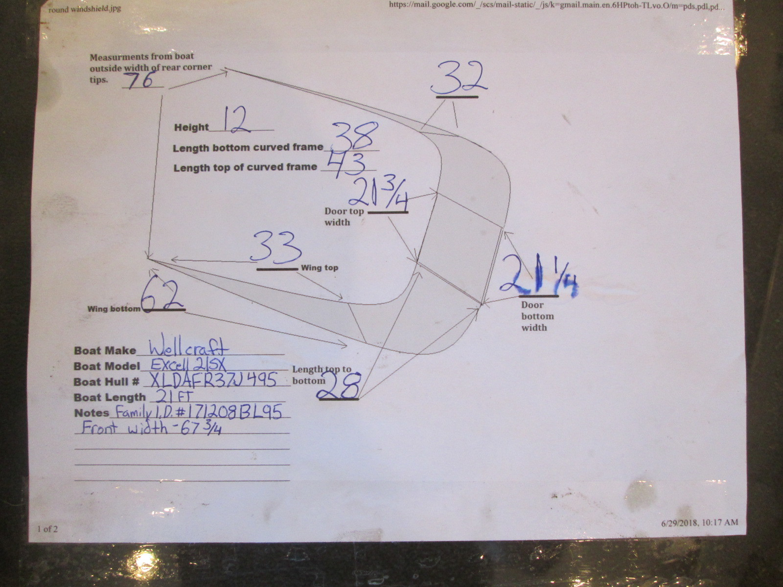 1995 Wellcraft Excel 21SX Boat Windshield Window Gl ... on sailboat electrical diagram, wellcraft electrical wiring, wellcraft electrical schematic, wellcraft parts catalog,